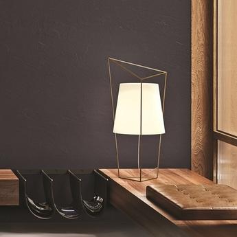Lampe a poser tatu laiton verre opalin l35cm h69cm kundalini normal