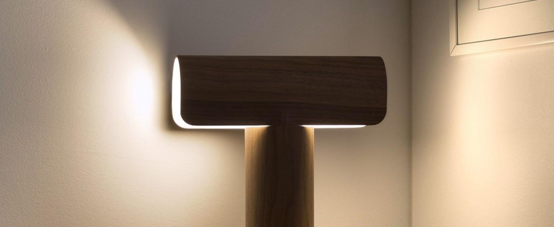 Lampe a poser teelo 8021 bois marron led l33cm h38cm secto design normal