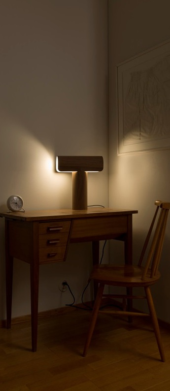 Lampe a poser teelo 8021 bois marron led l33cm h38cm secto design normal