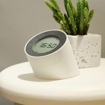 Lampe a poser the edge light alarm clock creamwhite o8cm h9 5cm gingko normal