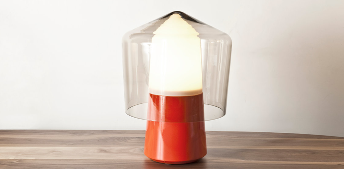 Lampe a poser tip top orange verre fume o30cm h40cm la chance normal