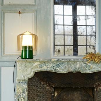 Lampe a poser tip top vert verre fume o30cm h40cm la chance normal