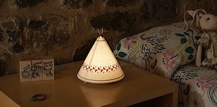 Lampe a poser tippi blanc rouge led o20 5cm h22cm buokids normal