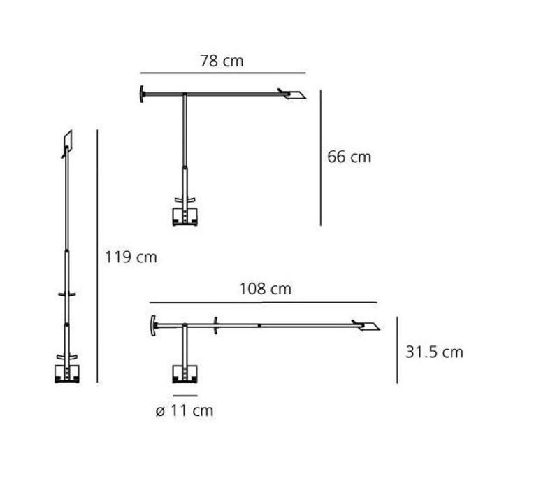 Table lamp, Tizio LED, black, dimmable, H66cm, L78cm - Artemide ...