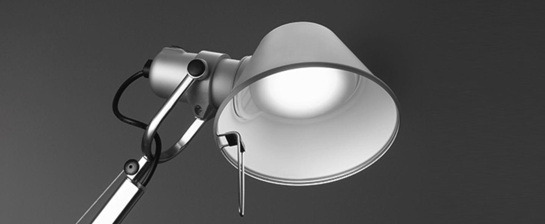 Lampe a poser tolomeo table aluminium dimmable h129cm l122cm artemide normal