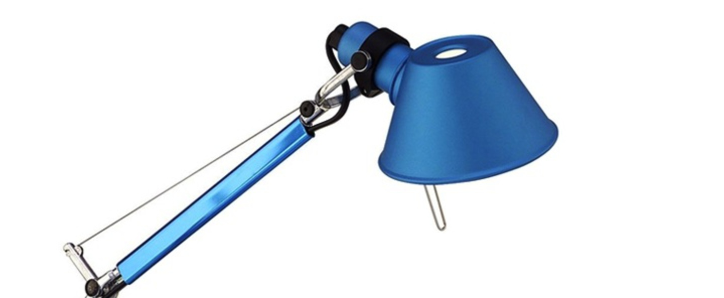Lampe a poser tolomeo table micro turquoise h37cm l45cm artemide normal