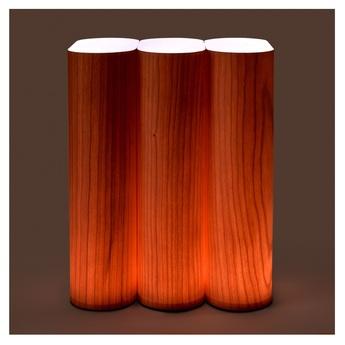 Lampe a poser tomo bois naturel de cerisier led 3000k 204lm l18cm h23cm lzf normal