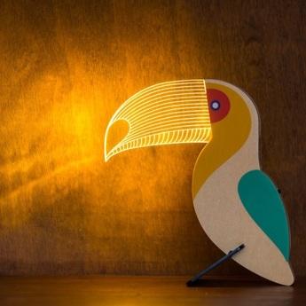 Lampe a poser toucan blanc o15cm h19cm studio cheha normal