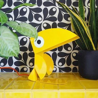 Lampe a poser toucan jaune l21cm h23cm bleu carmin design normal