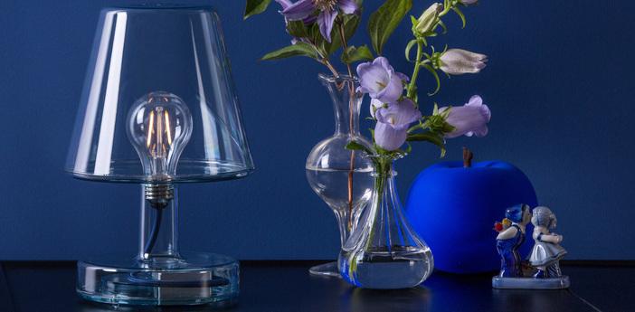 Lampe a poser transloetje bleu led o16 5cm h25 5cm fatboy normal