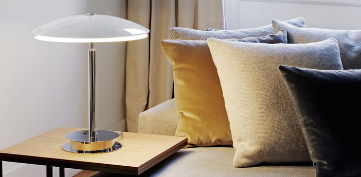 Lampe a poser tris blanc brillant h43cm fontana arte normal