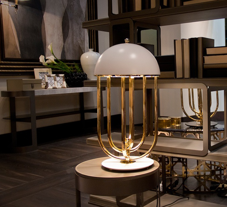Turner studio delightfull delightfull turner table gold white luminaire lighting design signed 25622 product