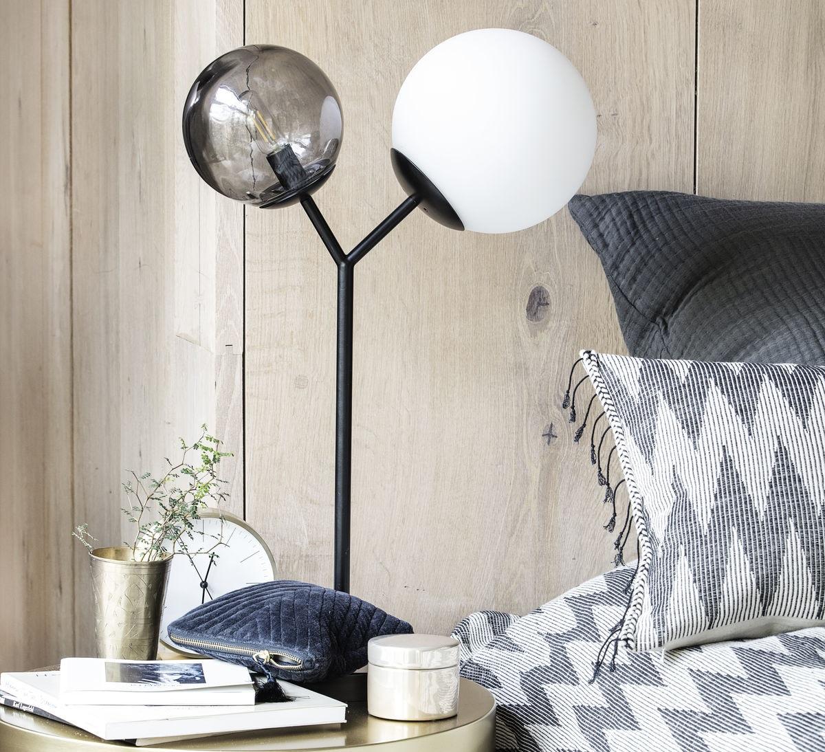 Fersk Table lamp, Twice, black, opale, smoked glass, L35cm, H42cm ID-88