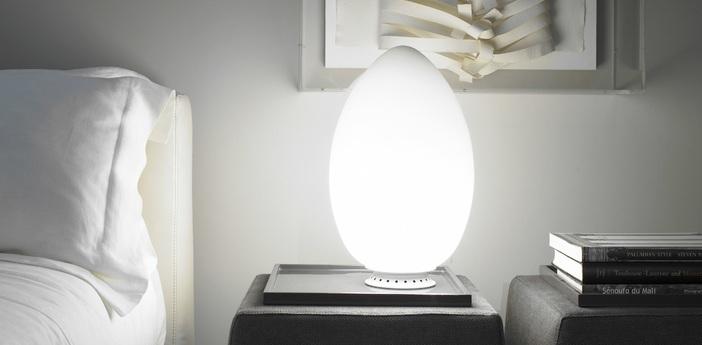 Lampe a poser uovo blanc h44cm fontana arte normal