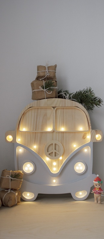 Lampe a poser voiture van gris bois l30cm h29cm little lights normal