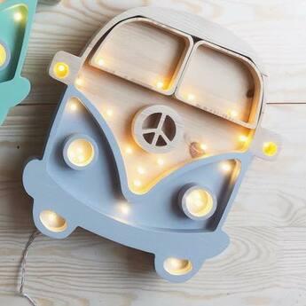 Lampe a poser voiture van gris bois l30cm h29cm little lights normal