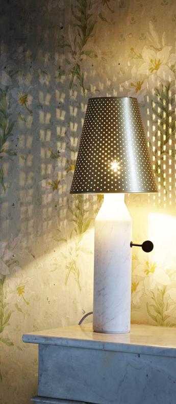 Lampe a poser vulcain l blanc laiton o22cm h55cm la chance normal