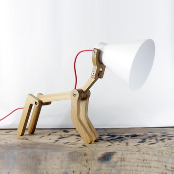 Lampe a poser waaf blanc chene h45cm structures normal