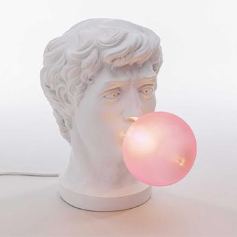 Lampe a poser wonder blanc et rose l21cm h40 5cm seletti normal