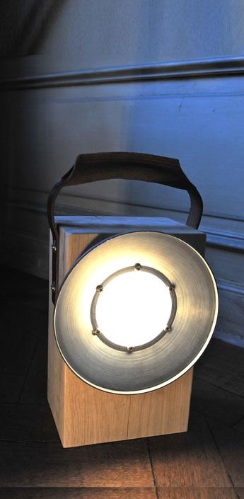 Lampe baladeuse portable block led cuir chene h30cm bloom normal