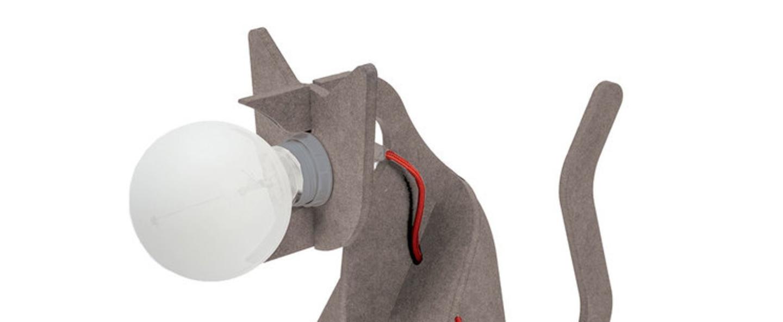 Lampe chat get out cat gris clair h35cm eno studio normal