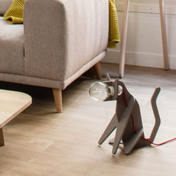 Lampe chat get out cat gris clair h35cm eno studio normal