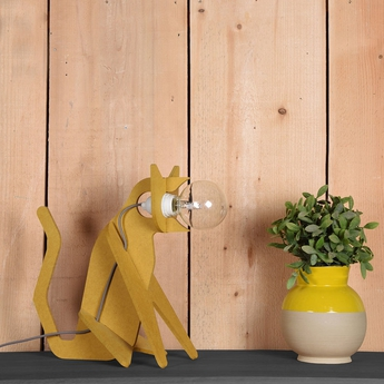 Lampe chat get out cat moutarde h35cm eno studio normal