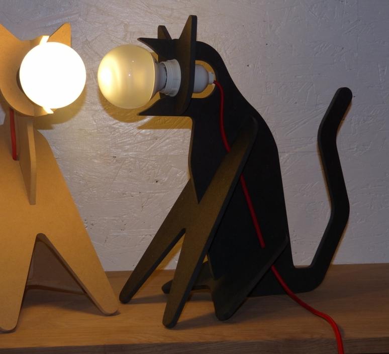 LAMPE, CHAT, GET OUT CAT, NOIR, H35CM - ENO STUDIO