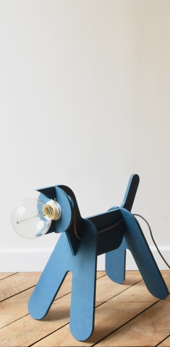 Lampe chien get out dog bleu marine h35cm eno studio normal