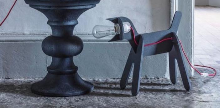 Lampe chien get out dog noir h35cm eno studio normal