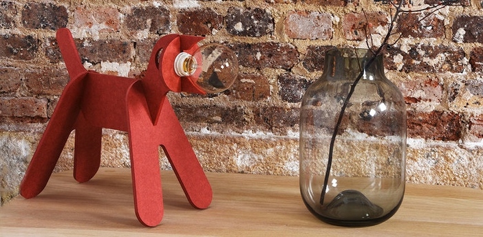 Lampe chien get out dog rouge h35cm eno studio normal