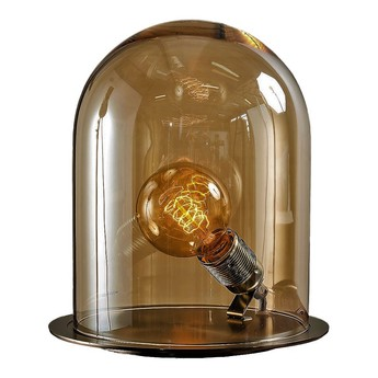 Lampe cloche glow in a dome marron chataigne base laiton h25 5cm ebb and flow normal