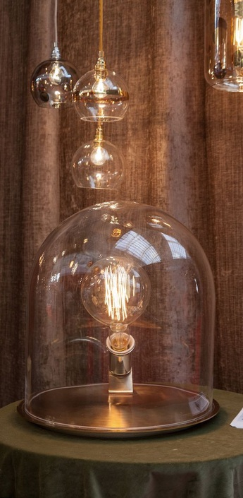 Lampe cloche glow in a dome transparent base argentee h25 5cm ebb and flow normal