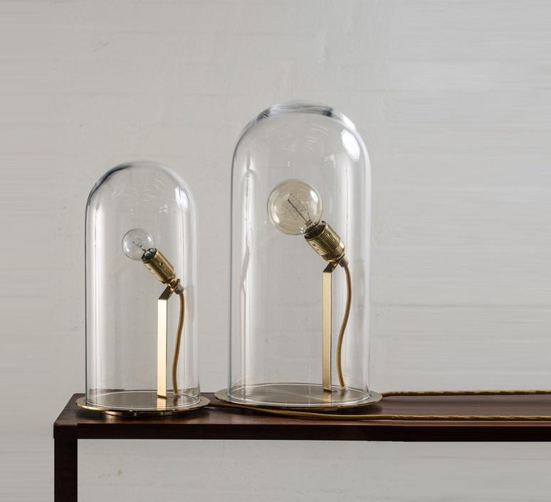 Lampe cloche speak up tranparent base laiton h42cm ebb and flow 49386 product