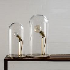 Lampe cloche speak up tranparent base laiton h42cm ebb and flow 49386 thumb