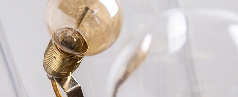 Lampe cloche speak up transparent base laiton h33cm ebb and flow normal