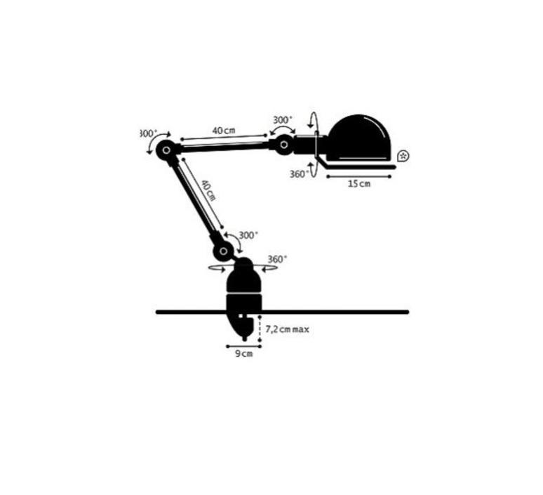 Loft d4040  lampe de bureau desk lamp  jielde loft d4040 ral9011 brillant  design signed 60152 product