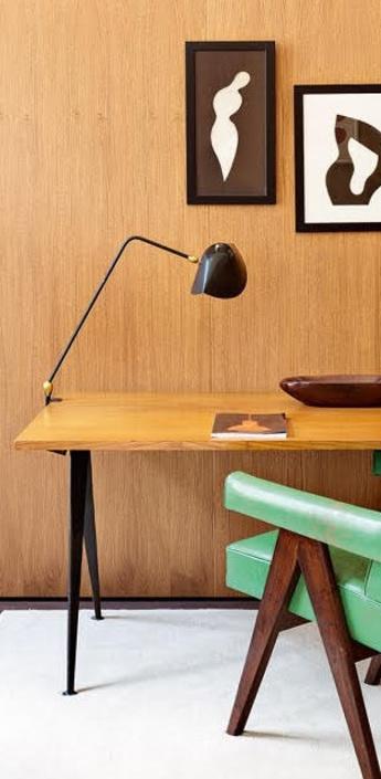 Lampe de bureau agrafee deux rotules noir h67cm serge mouille normal
