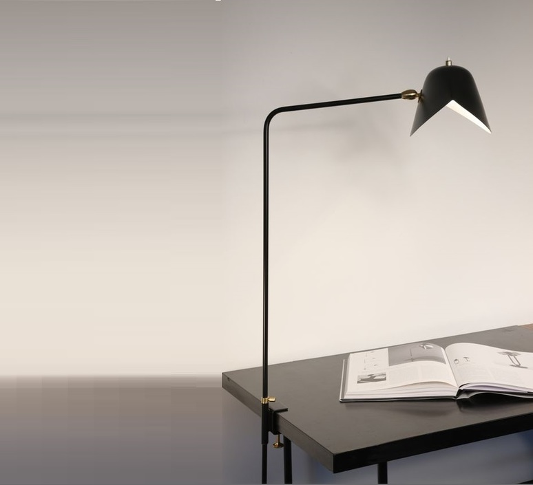 lampe de bureau agraf e simple noir h70cm serge mouille luminaires nedgis. Black Bedroom Furniture Sets. Home Design Ideas