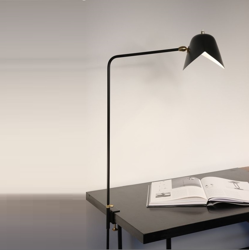 Lampe de bureau agraf e simple noir h70cm serge for Bureau 70 cm de large