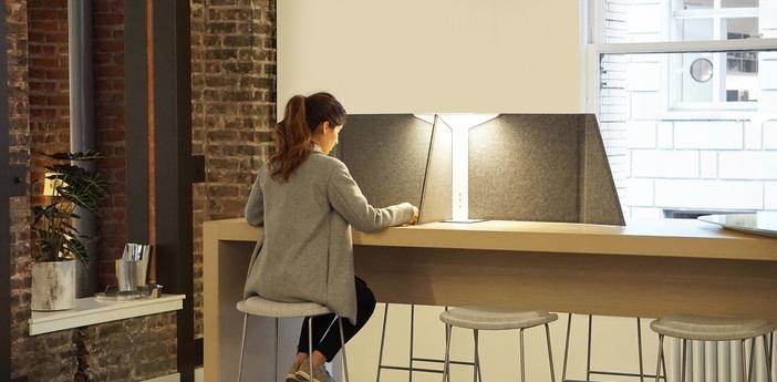 Lampe de bureau corner 30 gris led 3000k 600lm l76cm h46cm pablo normal