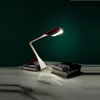Lampe de bureau libra rouge h35cm led zava normal