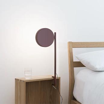 Lampe de bureau pastille c2 rouge oxyde led 2700k 690lm l17cm h48 1cm wastberg normal