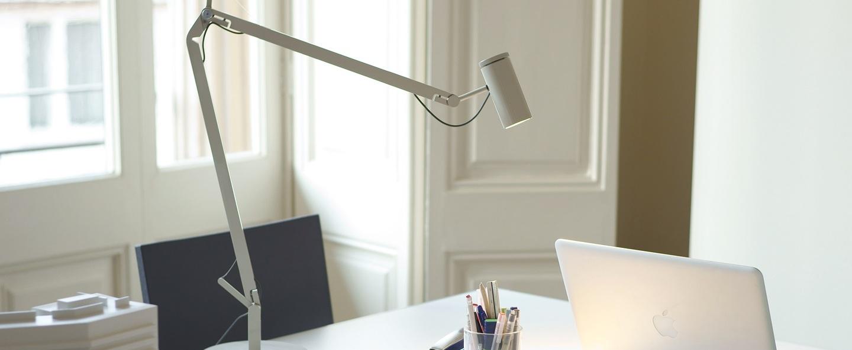 Lampe de bureau polo blanc led h44cm marset normal
