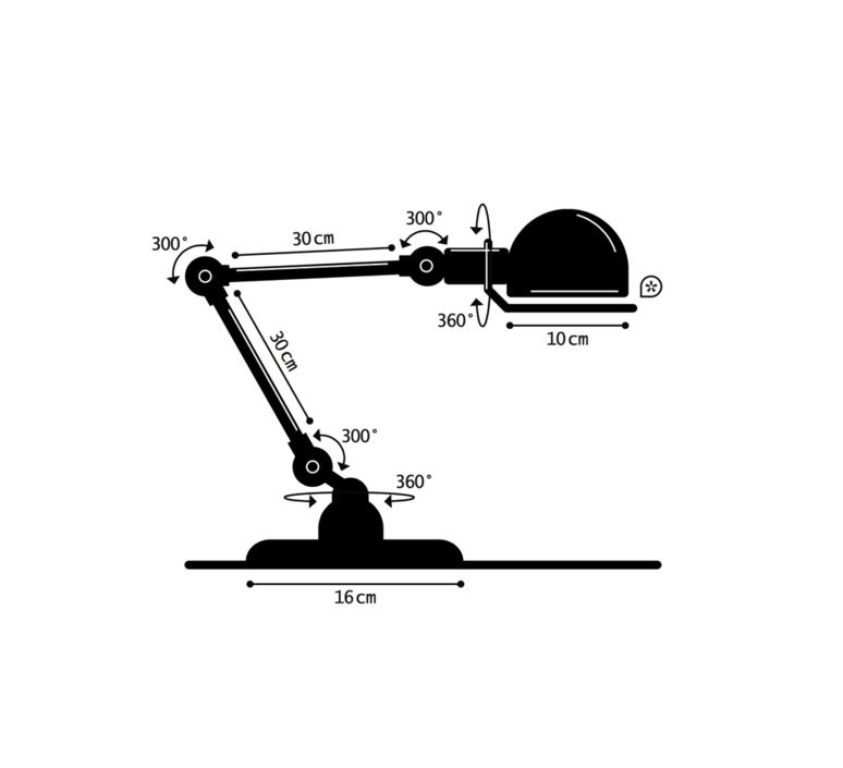 Signal 2 bras jean louis domecq lampe de bureau desk lamp  jielde si333 ral9011  design signed 57989 product