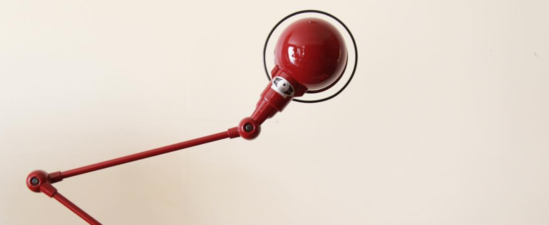 Lampe de bureau signal 2 bras rouge o16cm h60cm jielde normal