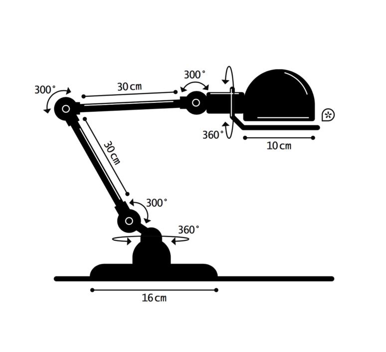 Signal 2 bras jean louis domecq lampe de bureau desk lamp  jielde si333 ral3020  design signed 35777 product