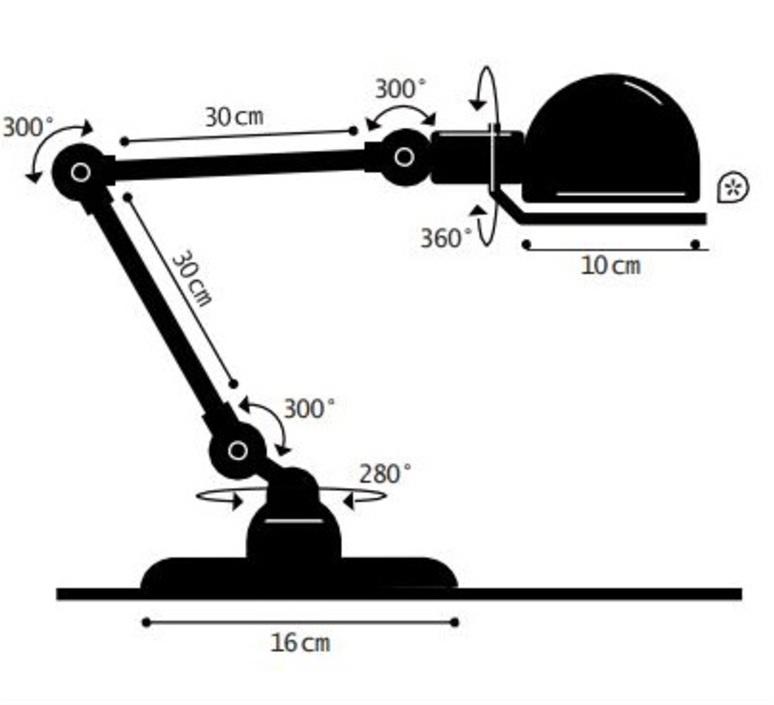 Signal 2 bras jean louis domecq lampe de bureau desk lamp  jielde si333 ral9011  design signed 99031 product