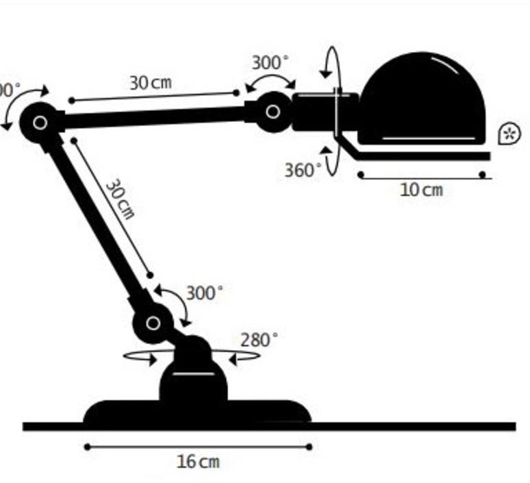 Signal 2 bras jean louis domecq lampe de bureau desk lamp  jielde si333 ral9011  design signed 107648 product