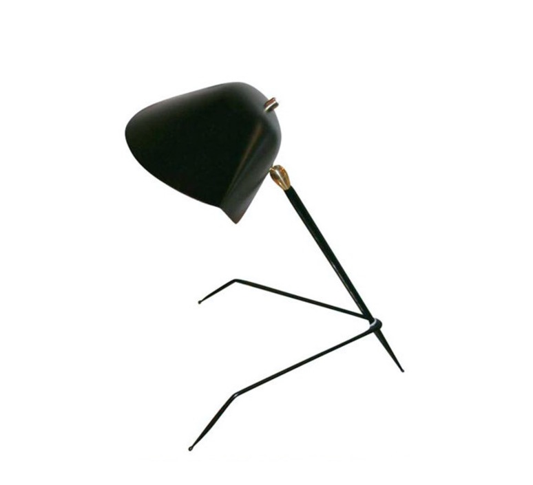 lampe de bureau tripode noir h35cm serge mouille luminaires nedgis. Black Bedroom Furniture Sets. Home Design Ideas
